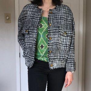 ZARA 2020 black white plaid tweed jacket Sz S